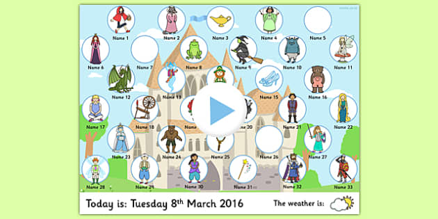 Fairy-tale Themed Self Attendance - Attendance, US resources, k, 1st, 2nd, 3rd, 4th, 5th, 6th, 7th, 8th