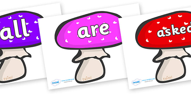 Tricky Words on Mushrooms - Tricky words, DfES Letters and Sounds, Letters and sounds, display, words