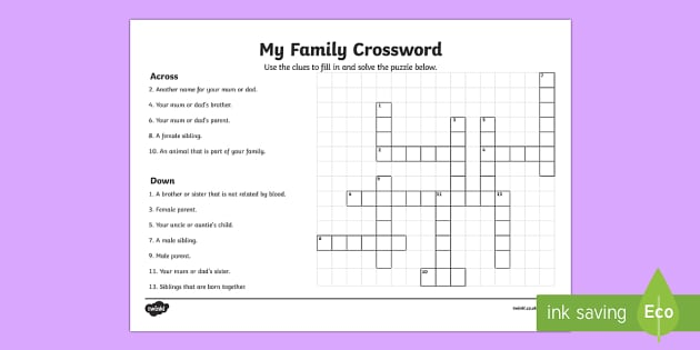 My Family Crossword
