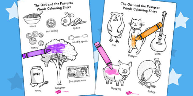 The Owl and the Pussycat Words Colouring Sheet - colour, keywords