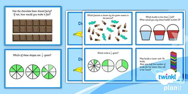 PlanIt Y1 Fractions Challenge Cards - planit, fractions, year 1, maths, challenge cards