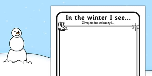 In the Winter I See Writing Frame Polish Translation - polish, winter, I see, writing frame, writing, frame, in the winter