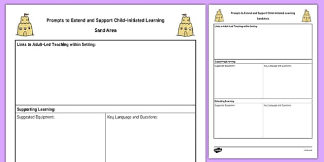 Sand Area Adult Support Prompt Sheet Template - seaside, sandcastles, foundation, early years, reception, continuous provision
