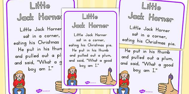 Little Jack Horner Nursery Rhyme Poster - Australia, Little, Jack