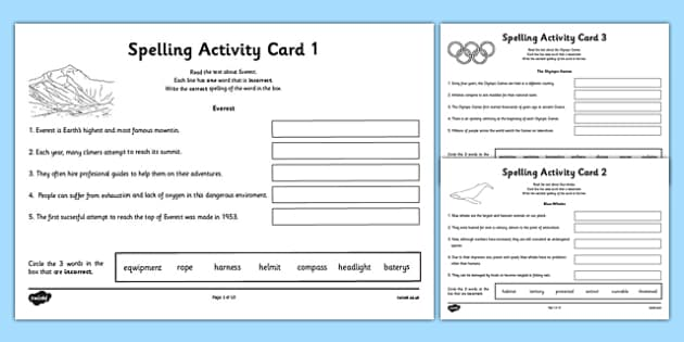 Year 5 Spelling Mistake Activity Cards - australia, year 5, spelling, mistake, spell, activity, cards