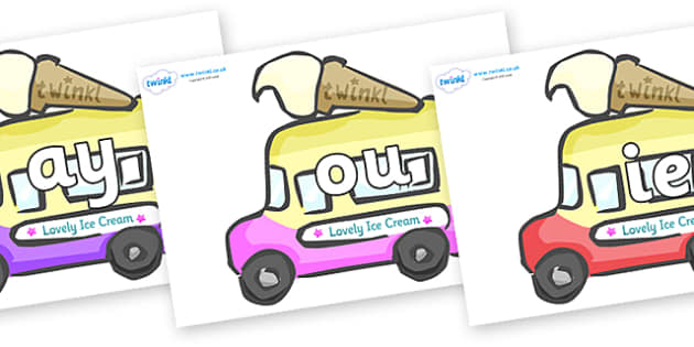 Phase 5 Phonemes on Ice Cream Vans - Phonemes, phoneme, Phase 5, Phase five, Foundation, Literacy, Letters and Sounds, DfES, display