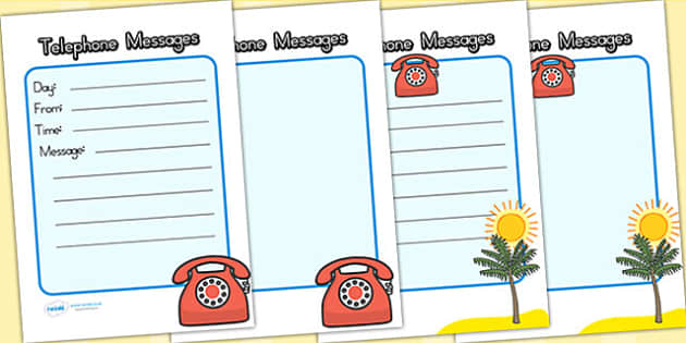Travel Agents Role Play Telephone Message Sheets - travel agents