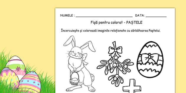 Paste, Fise pentru colorat - arte, religie, pastele , worksheet