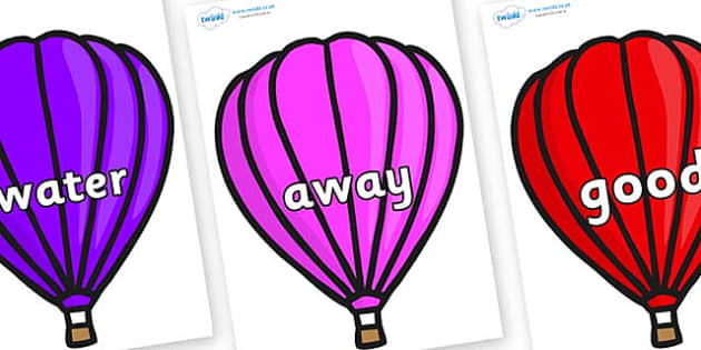 Next 200 Common Words on Hot Air Balloons (Plain) - Next 200 Common Words on  - DfES Letters and Sounds, Letters and Sounds, Letters and sounds words, Common words, 200 common words