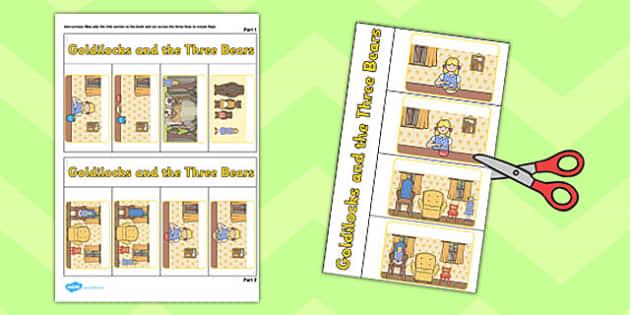 Goldilocks and Three Bears Story Writing Flap Book - flap book