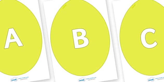 A-Z Alphabet on Golden Eggs - A-Z, A4, display, Alphabet frieze, Display letters, Letter posters, A-Z letters, Alphabet flashcards