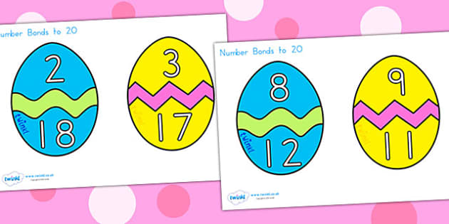Easter Egg Number Bonds To 20 - easter, easter egg, number bonds