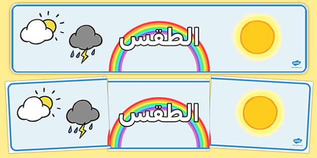 لوحة عرض الطقس - بانر الطقس، وسائل تعليمية، موارد تعليمية