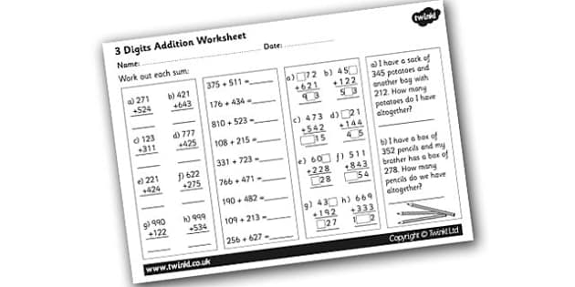 3 Digit Number Addition Activity Sheet addition worksheets – Addition Worksheets Ks1