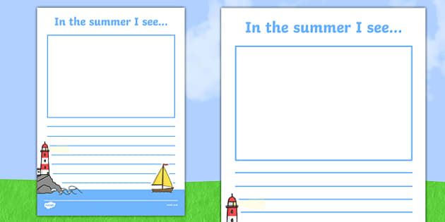 In the Summer I See Writing Frame - in the summer, summer, seasons, writing frame, writing template, writing guide, writing aid, line guide, writing guide