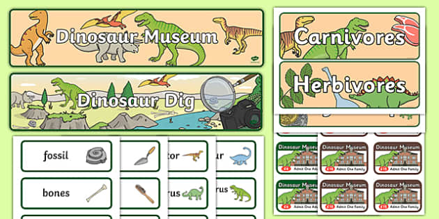 Dinosaur Museum Role Play Pack - Role Play Pack - Dinosaur Museum Role Play Pack, museum, dinosaurs, fossils, tyrannosaurus, triceratops, pterodactyl, role play, display, poster, role play, Display signs, display, labels, pack