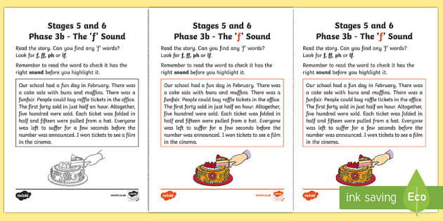 Northern Ireland Linguistic Phonics Stage 5 and 6 Phase 3b,'f' Sound Activity Sheet - Linguistic Phonics, Phase 3b, Northern Ireland, 'f' sound, sound search, text, Worksheet