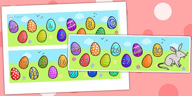 Missing Number Number Line 0 30 Easter - number line, easter, RE