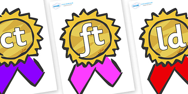 Final Letter Blends on Award Rosettes - Final Letters, final letter, letter blend, letter blends, consonant, consonants, digraph, trigraph, literacy, alphabet, letters, foundation stage literacy