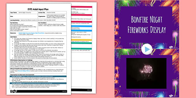 Firework Sounds EYFS Adult Input Plan and Resource Pack