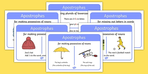 Apostrophe Rules Display Posters - apostrophe rules, rules, apostrophe, display, poster, sign, banner, possesives of nouns, when to use apostrophes, how to use, when, using apostrophes, rules, prompt, aid