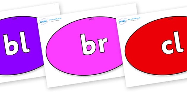 Initial Letter Blends on Ovals - Initial Letters, initial letter, letter blend, letter blends, consonant, consonants, digraph, trigraph, literacy, alphabet, letters, foundation stage literacy
