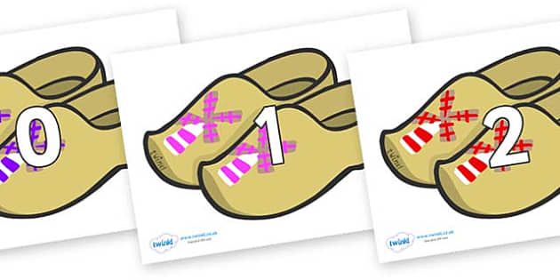 Numbers 0-31 on Wooden Shoes - 0-31, foundation stage numeracy, Number recognition, Number flashcards, counting, number frieze, Display numbers, number posters