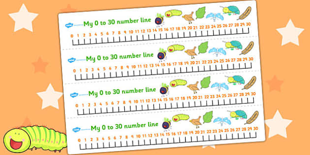 Number Lines 0-30 to Support Teaching on The Crunching Munching Caterpillar - counting