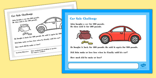 Car Sale Maths Challenge A4 Display Posters - challenge, display