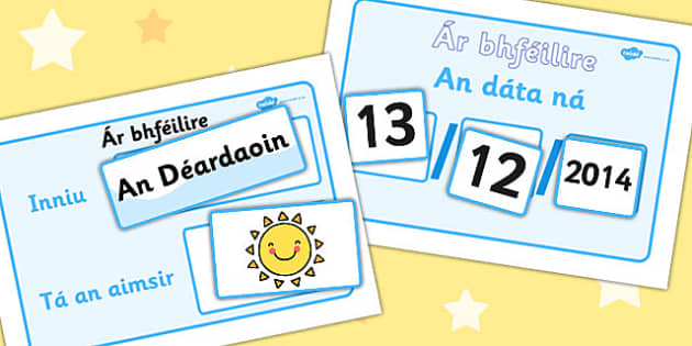 Daily Weather Calendar Weather Chart Gaeilge - Weather, Calender, aimsir