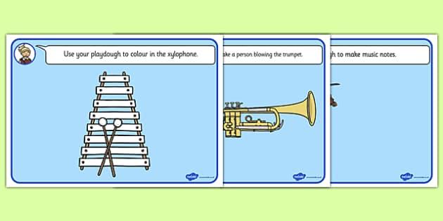 Musical Instrument Playdough Mats - musical instrument, playdough