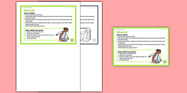 Foundation PE (Reception) Rolling a Ball Teacher Support Card - EYFS, PE, Physical Development, Planning