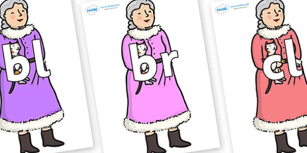 Initial Letter Blends on Mrs Clause to Support Teaching on The Jolly Christmas Postman - Initial Letters, initial letter, letter blend, letter blends, consonant, consonants, digraph, trigraph, literacy, alphabet, letters, foundation stage literacy