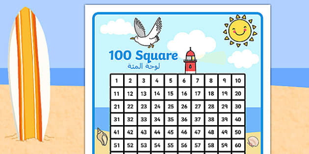 Seaside Themed 100 Square Arabic Translation - arabic, seaside, seaside number square, seaside 100 square, beach, at the beach, at the seaside, seaside numeracy