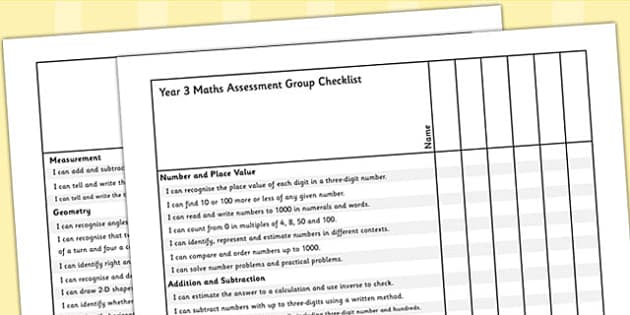 Year 3 Maths Assessment Group Checklist - maths, assessment