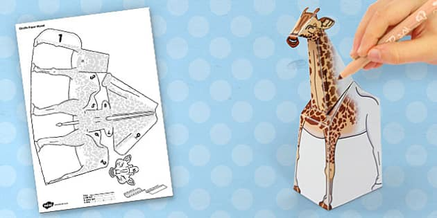 3D Giraffe Paper Model Activity - craft, paper, animal, model