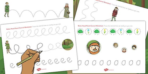 Robin Hood Pencil Control Worksheets - robin, hood, control