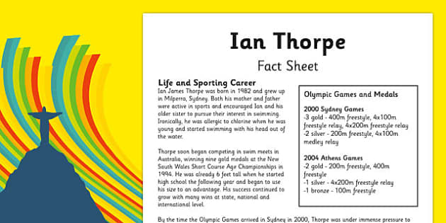 Australian Olympic Athletes Fact Sheet Ian Thorpe - Australia, Olympic Games, Olympics, Paralympics, Athletes, Information, Fact Sheet, Reading Comprehension, Year 6 History