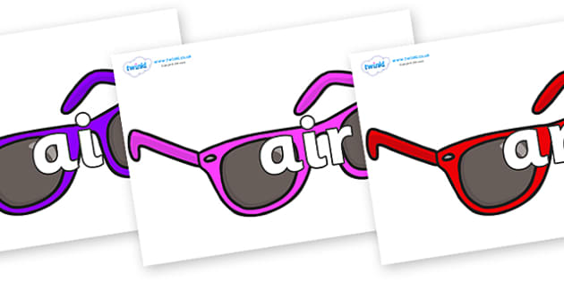 Phase 3 Phonemes on Sunglasses - Phonemes, phoneme, Phase 3, Phase three, Foundation, Literacy, Letters and Sounds, DfES, display