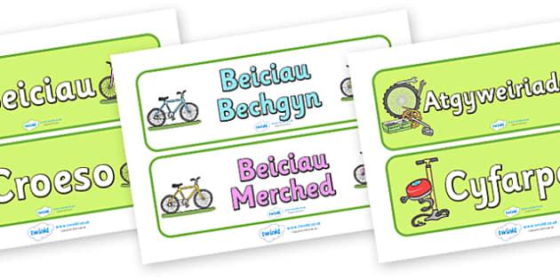 Bicycle Shop Display Signs (Welsh) - Welsh, Wales, bicycle, foundation, display, banner, sign, bike, shop, repair, poster, languages, cymru