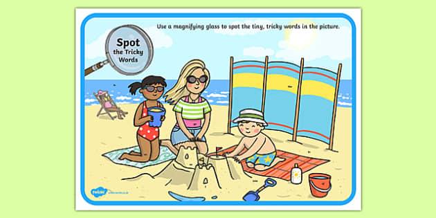 Phase 2 Tricky Words Beach Scene Magnifying Glass Activity Sheet, worksheet