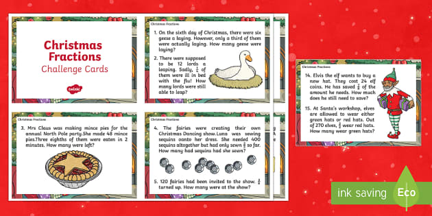 LKS2 Christmas Fractions Challenge Cards