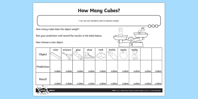 How Many Cubes Weight Activity Sheet - Measurement, weight, weigh, non standard measures, measure, measuring,