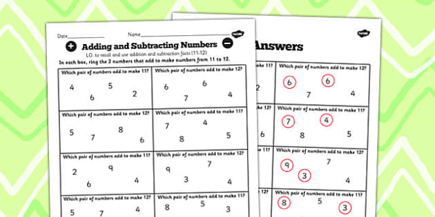 Number Facts Finding Pairs Worksheet 11-12 - number, fact, 11, 12