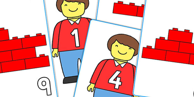 Toy Man and Building Brick Number Bond Matching Cards to 10 - toys, building bricks,