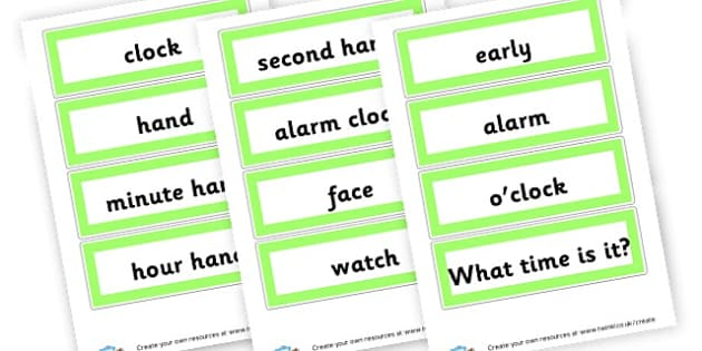 Clock Times Vocabulary - time, resource, Home School, alphabet, literacy, numeracy, a-z