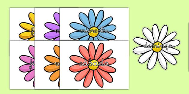 Flores de los días de la semana en DIN A4 - calendario, decorción