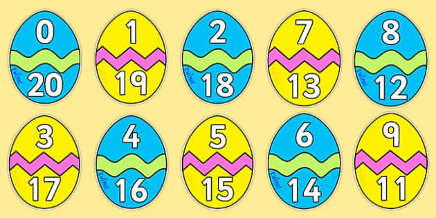 Easter Egg Number Bonds to 20 - Number Bonds, Easter, Easter Egg, Matching Cards, Clothing Cards, Number Bonds to twenty, bible, egg, Jesus, cross, Easter Sunday, bunny, chocolate, hot cross buns