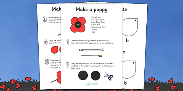 Make Your Own Poppy Instructions - Remembrance Day, war, battle, world war, poppy, cross, army, fight, 11 November, Remembrance Sunday, heroes