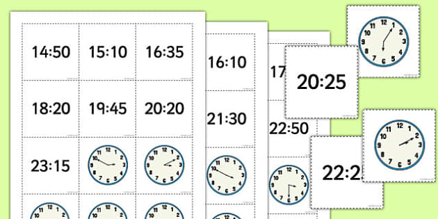 Telling the Time 24 hour Pelmanism Game With 5 Minute Intervals - telling the time, game